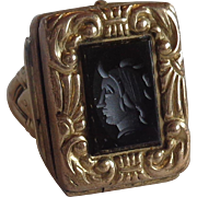 Mourning Carved Intaglio Ring 10K Gold