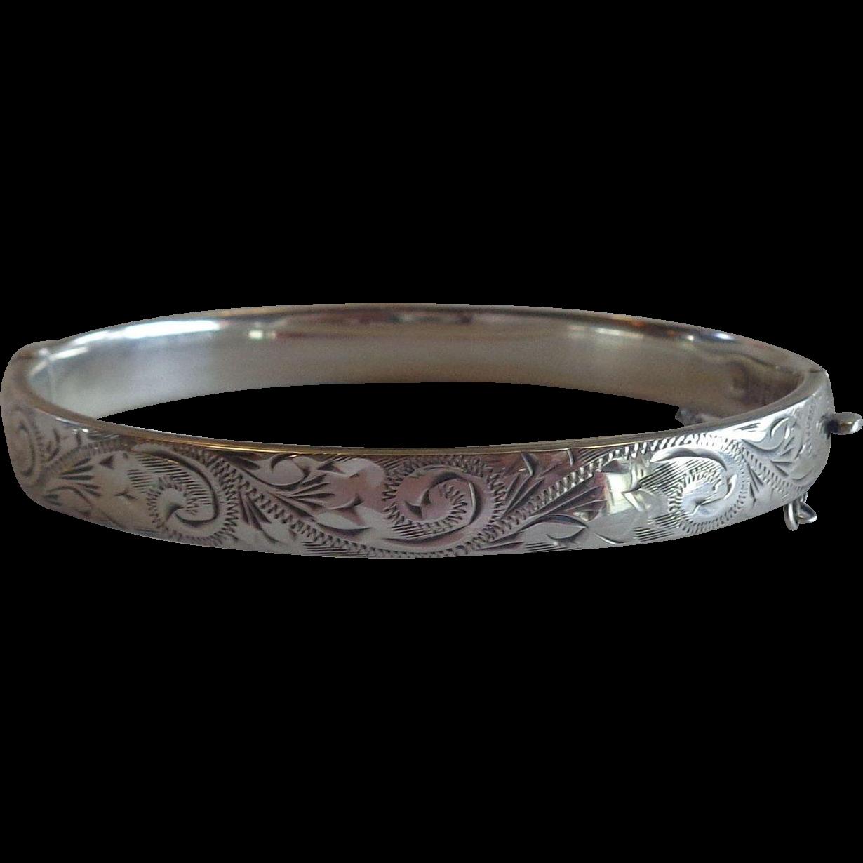 Sterling Silver Bracelet Chased Design London Salkind & Koshr 1965