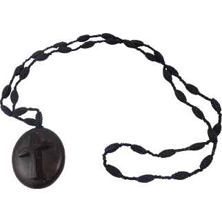 Victorian Gutta Perch Mourning Locket with Cross Black Bead Necklace