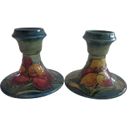 Pair Moorcroft African Lily Candle Holders Sticks