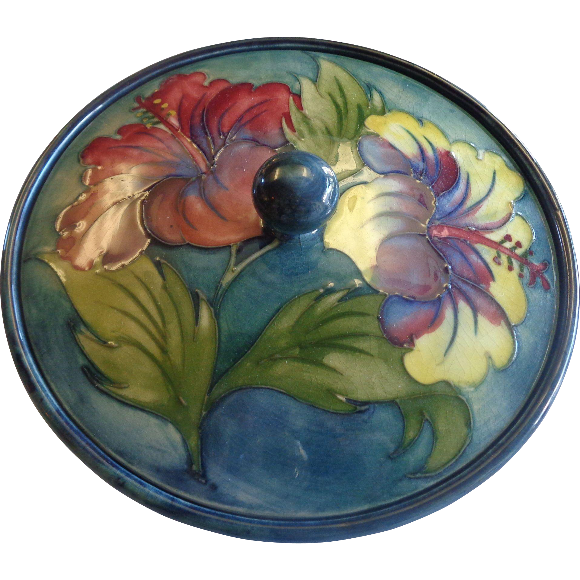 Moorcroft Lidded Bowl Hibiscus Warrant Labels