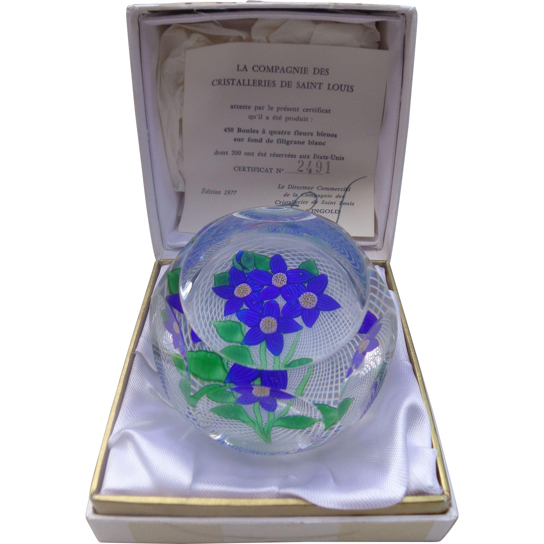 St. Louis France Paperweight Four Royal Blue Flowers 1977 Harrods Box
