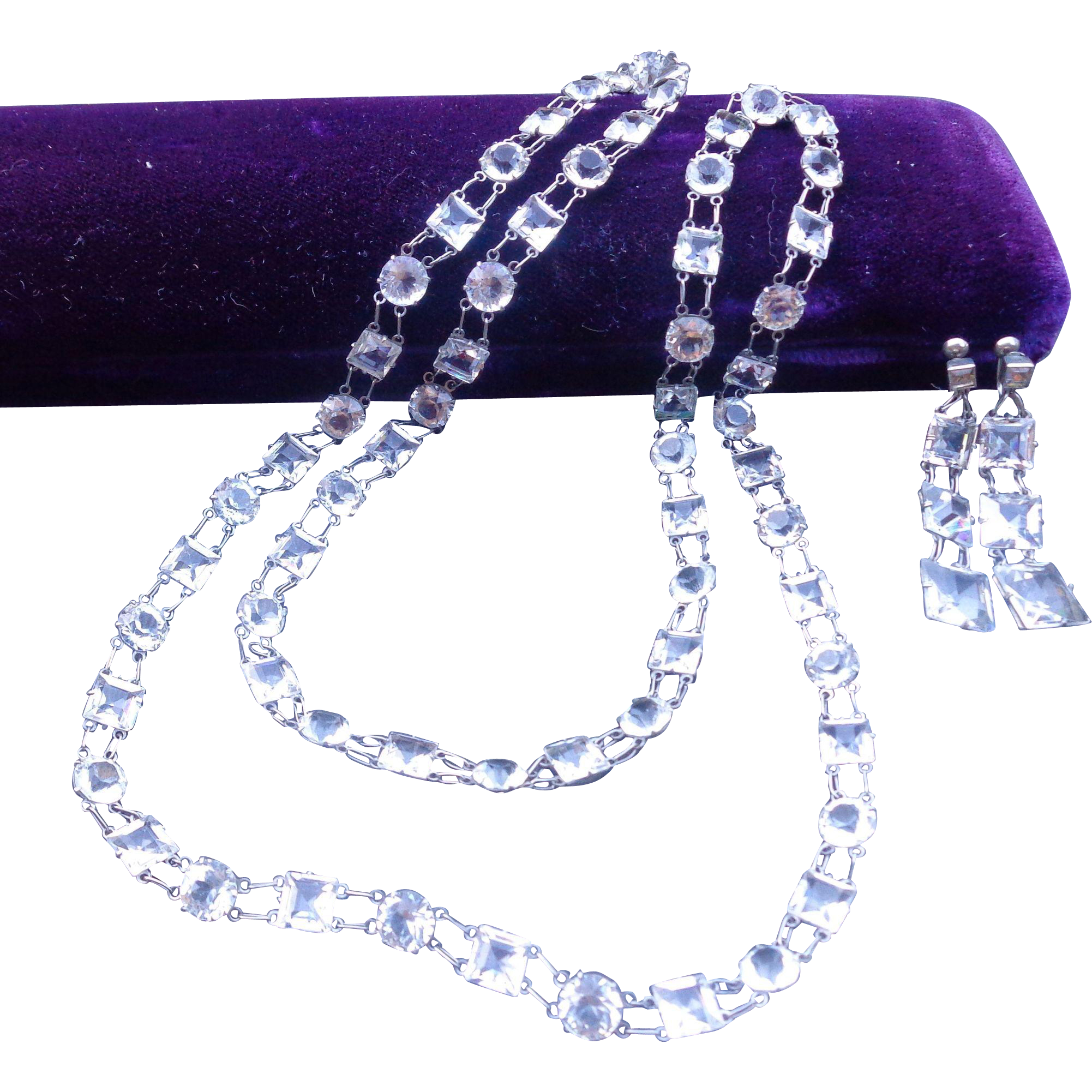 Art Deco Facet Cut Crystal Necklace & Earrings Sterling Bezels Free Shipping To Canada & USA