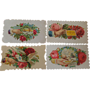 Set of 4 Victorian Embossed Calling Cards Hidden Name Free Shipping