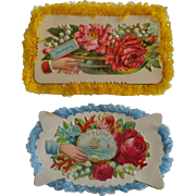 2 Fancy Trim Victorian Calling Cards Free Shipping