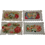 Set of 4 Victorian Embossed Calling Cards Hidden Name Free Shipping #R5