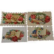 Set of 4 Victorian Embossed Calling Cards Hidden Name Free Shipping #R6