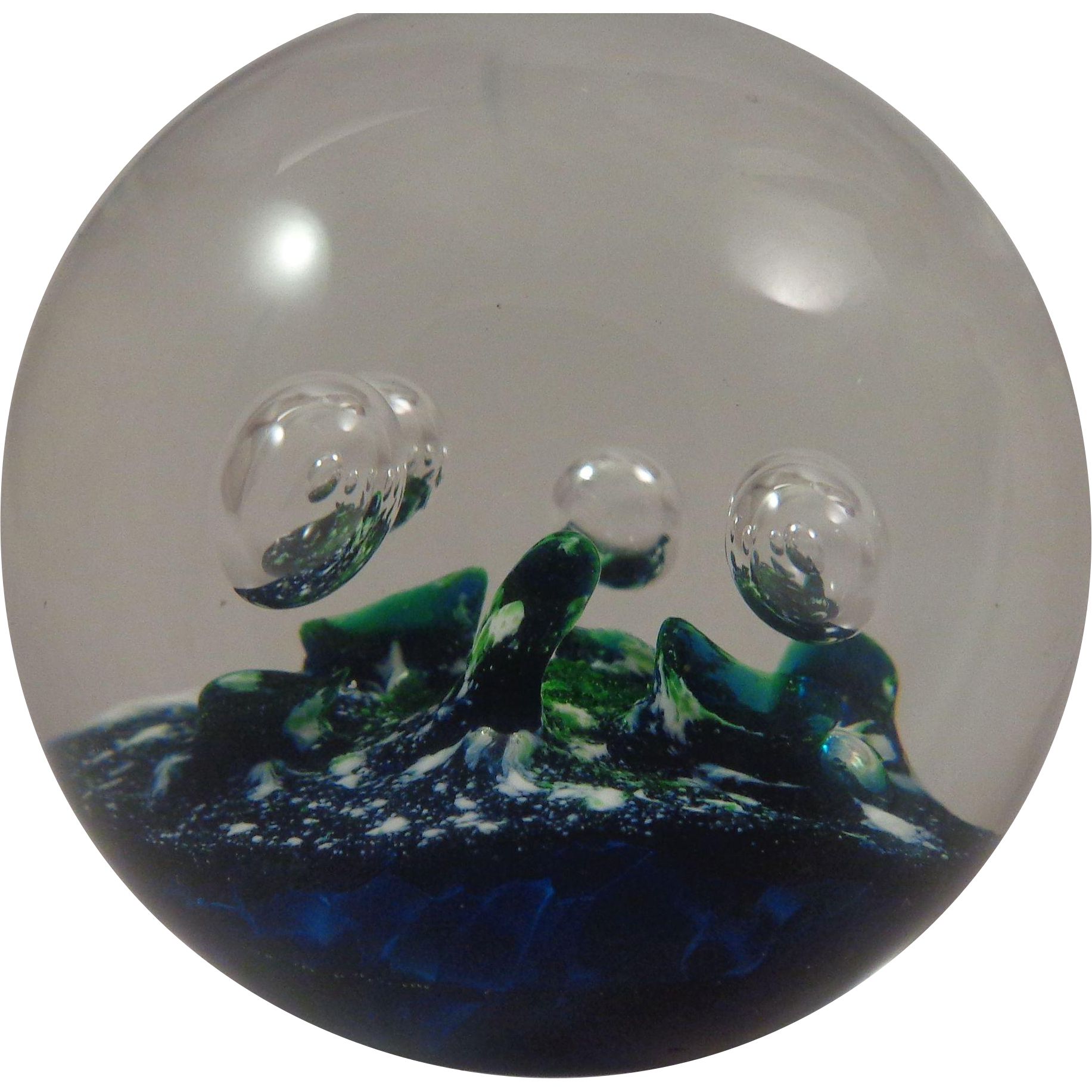 Selkirk Glass Paperweight Aquamarine 1981 110/500