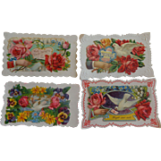 Set of 4 Victorian Embossed Calling Cards Hidden Name Free Shipping #R7