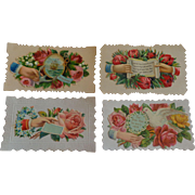 Set of 4 Victorian Embossed Calling Cards Hidden Name Free Shipping #R8
