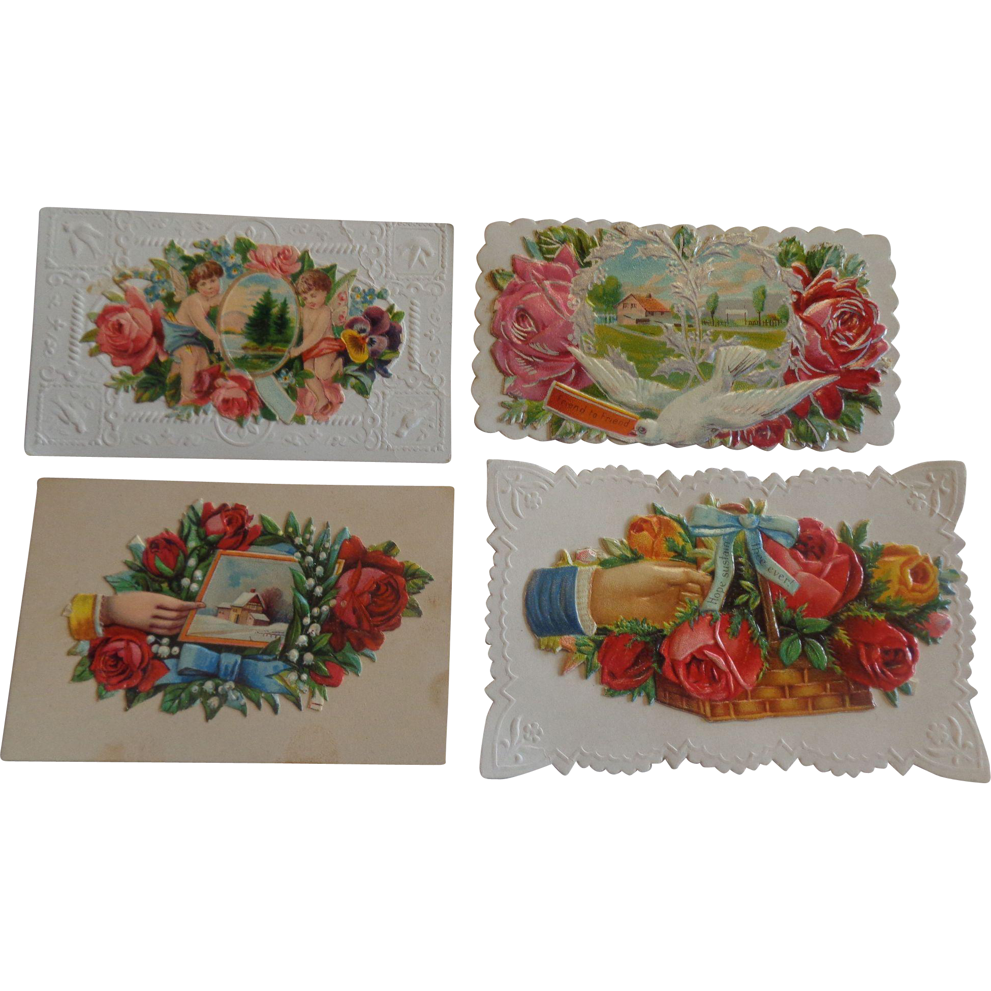 Set of 4 Victorian Embossed Calling Cards Hidden Name Free Shipping #R9