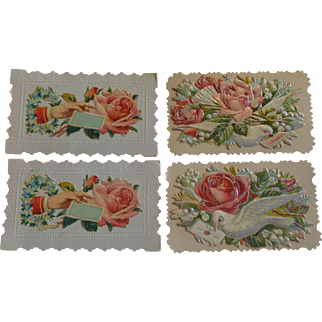 Set of 4 Victorian Embossed Calling Cards Hidden Name Free Shipping #R10