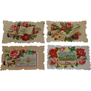 Set of 4 Victorian Embossed Calling Cards Hidden Name Free Shipping #R11
