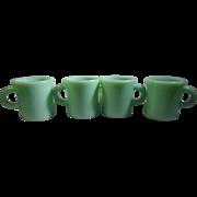 4 C Handle Fire-King Jadite Restaurant Ware Coffee Mugs Anchor Hocking