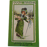 Christmas Postcard International Art Card Germany Lady in Green  Xmas Wishes Free Shipping
