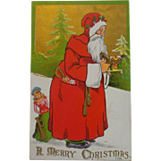 Embossed Christmas Postcard Santa Bag of Toys 1908 Free Shipping