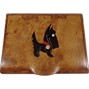 Russian Karelian Burl Wood Seamless Hinge Cigarette Case Scotty Dog - Red Tag Sale Item
