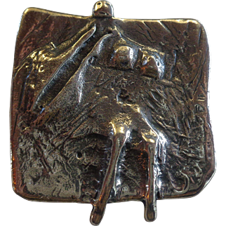 Guy Vidal Modernist Figural Abstract Pewter Brooch Signed Canadian 1970s