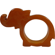 Marbleized  Honey Amber Bakelite Elephant Napkin Ring Holder  Free Shipping to the USA