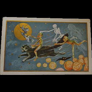 Vintage Halloween Embossed Postcard Goblins Skeleton Witch Black Cat Pumpkins Ghost Free Shipping