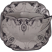 Shelley Cup & Saucer Black White Medallion 11612