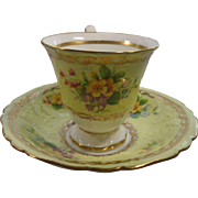 Foley England Cup Saucer Yellow Ground Flowers Gold Trim