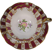 Royal Albert Crown China Cup & Saucer Burgundy Stripes Flowers