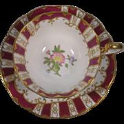 Royal Albert Crown China Cup & Saucer Burgundy Stripes Flowers