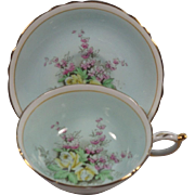 Paragon Double Warrant Cup & Saucer Blue Ground Flowers