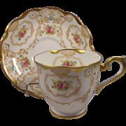 Royal Albert Crown China Cup & Saucer Flowers Gold Design & Trim