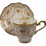 Royal Albert Crown China Cup & Saucer Flowers Gold Design & Trim