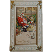 Antique Embossed Christmas Postcard Santa Sleeping Kids Pranking Free Shipping