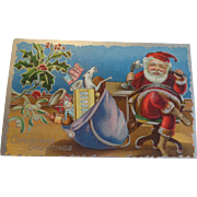 Antique Patriotic Christmas Postcard US Flag Santa Telephone Sack of Toys Free Shipping