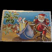 Antique Patriotic Christmas Postcard US Flag Santa Telephone Sack of Toys Free Shipping
