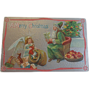Antique Christmas Postcard Green Robe Santa Angel Free Shipping