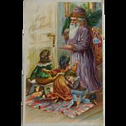 Antique Christmas Postcard Purple Robe Santa Children Free Shipping