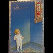 Antique Christmas Postcard The Night Before Christmas Santa Peeking in Window Child