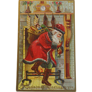 Antique Christmas Postcard Santa Sack Toys Chimney Dark Trim Green Pants Free Shipping