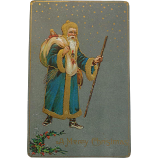Antique Christmas Postcard Santa Blue Coat Gold Trim Free Shipping