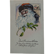 Vintage Christmas Postcard  Santa Black Trim
