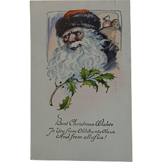 Vintage Christmas Postcard  Santa Black Trim