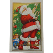 Vintage Christmas Postcard  Embossed Santa Red Boots
