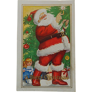 Vintage Christmas Postcard  Embossed Santa Red Boots