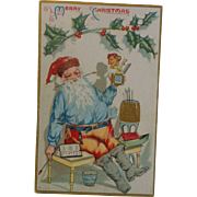Antique Embossed Christmas Postcard Santa Jack In The Box  Free Shipping