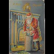 Antique Christmas Postcard Santa Sack Toys Chimney Free Shipping