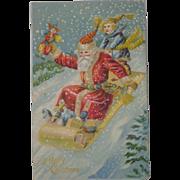 Antique  Christmas Postcard Santa Toboggan  Free Shipping