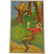 Vintage Halloween Postcard Pumpkin Tree Scares Man Free Shipping 1921