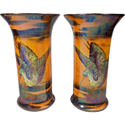 Pair San Toi Lustre Vases Britannia Pottery Co Ltd Butterfly Crane