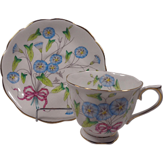 Royal Albert Morning Glory Cup Saucer Flower Of The Month Series Hand Painted
