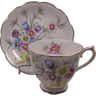 Royal Albert Cosmos Cup Saucer Flower Of The Month Series Hand Painted